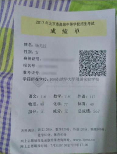 杨幂的父亲晒学霸侄女中考成绩单,杨幂的文化课成绩很好吗?