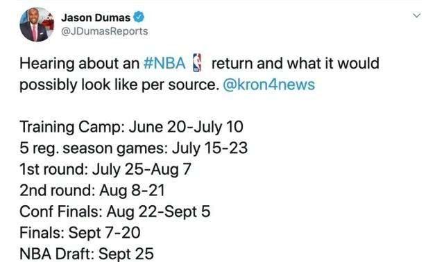 NBA复赛计划曝光 总决赛可能在9月份进行